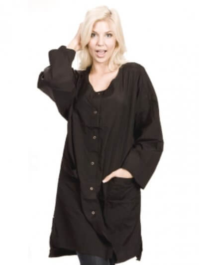 lady wearing black smock